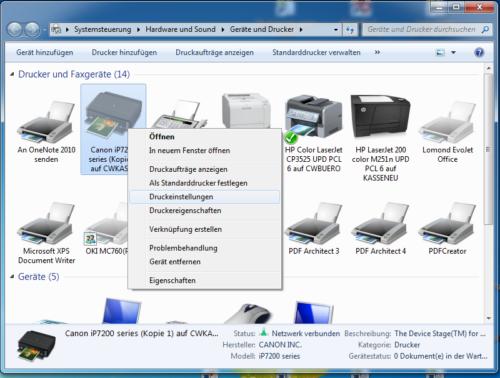 """Im nächsten Schritt wählen Sie Ihren Drucker aus und klicken auf """"Druckeinstellungen""""."""